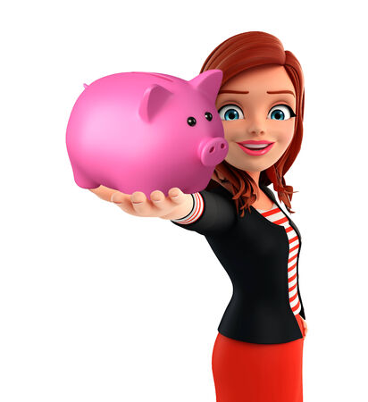 deposite: Illustration of corporate lady with piggy bank
