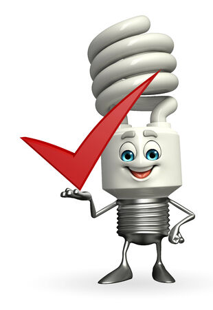 Cartoon Character of CFL with right sign photo