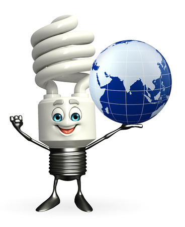 Cartoon Character of CFL with globe