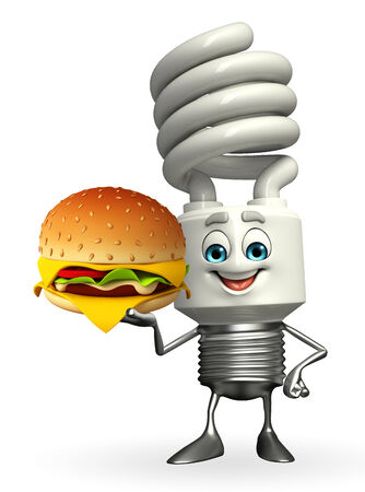 Cartoon Character of CFL with burger photo