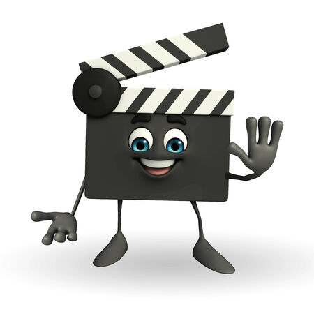 Cartoon Character of Clapper Board with stop sign photo