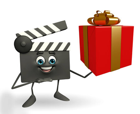 Cartoon Character of Clapper Board with gift box photo