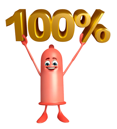 Cartoon Character of Condom with percent sign photo
