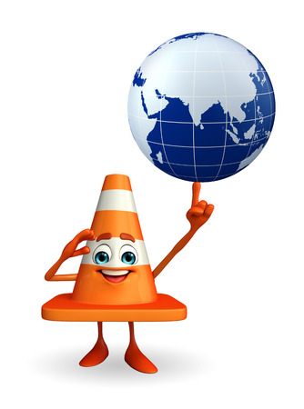road works ahead: Cartoon Character of Construction cone with globe