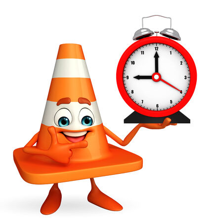 road works ahead: Cartoon Character of Construction cone with table clock