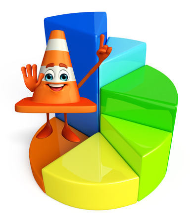 Cartoon Character of Construction cone with circular graph photo