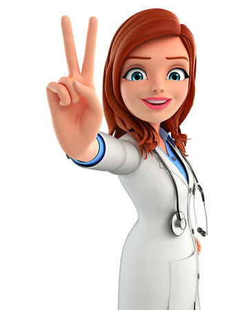 Illustration of Young Doctor with victory sign illustration