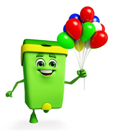 air pollution cartoon: Cartoon Character of Dustbin with balloons