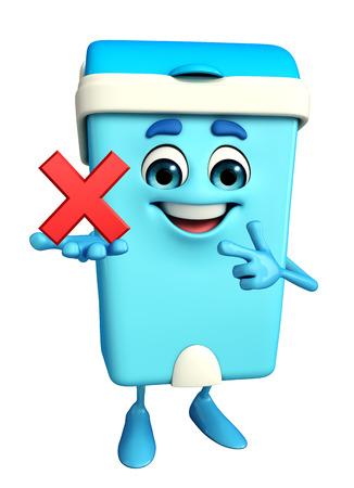 keep clean: Cartoon Character of Dustbin with cross sign Stock Photo