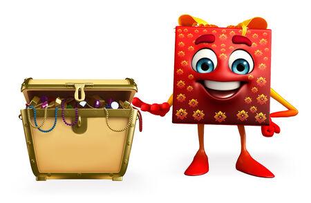 Cartoon Character of gift box with treasure box photo