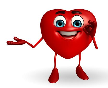 Stripfiguur van hart vorm met de beste teken