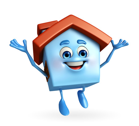 Cartoon Charcter of house with happy pose