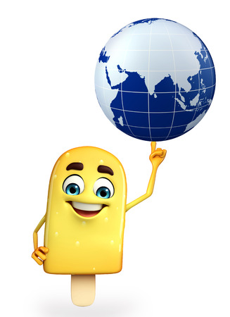 Cartoon Character of Candy with globe photo