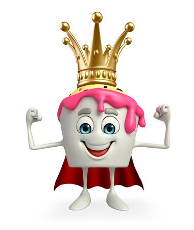heros: Cartoon Character of Super Ice Cream with crown