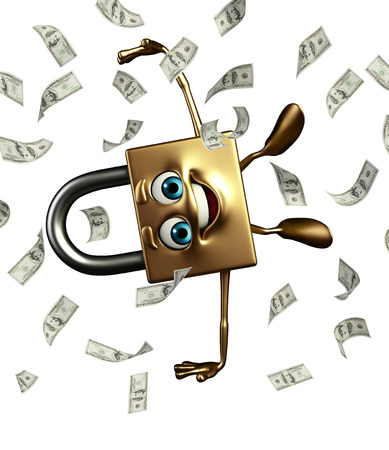 confidentiality: Cartoon Character of lock with dollars Stock Photo