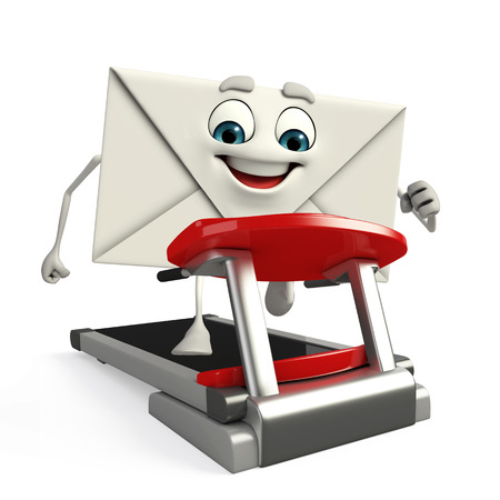 Cartoon Character of mail with walking machine photo