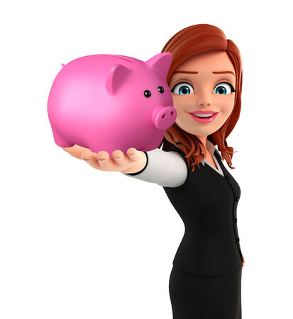 deposite: Illustration of young Business Woman with piggy bank