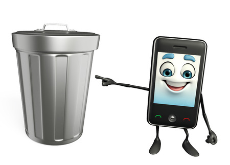 Cartoon Character of Mobile with dustbin photo