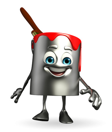 Cartoon Character of paint bucket is walking photo