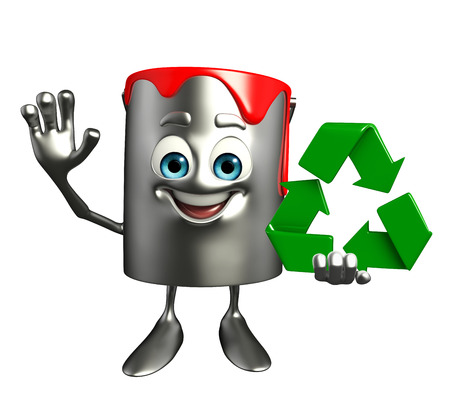 Cartoon Character of paint bucket with recycle icon photo
