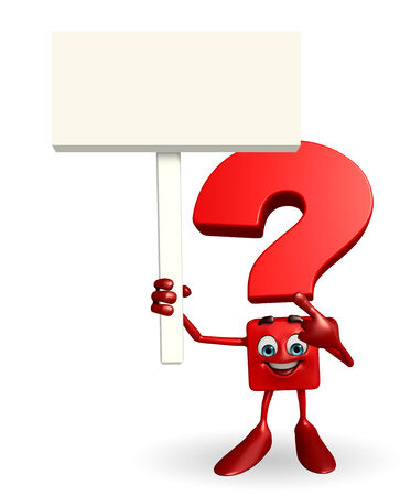 writting: Cartoon Character of Question Mark with sign Stock Photo