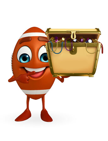 Cartoon Character of rugby ball with treasure box photo