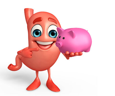 deposite: Cartoon Character of stomach with piggy bank