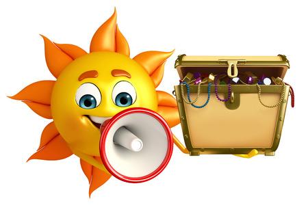 Cartoon Character of sun with treasure box photo