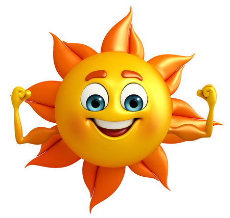 yellow character: Cartoon Character of sun with bodybuilding Stock Photo