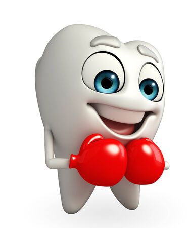 Cartoon character of teeth with Boxing Gloves Stock Photo