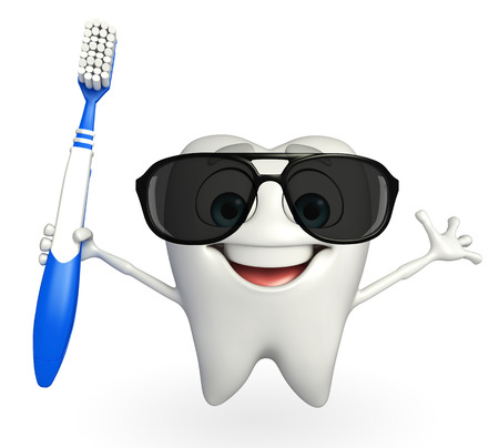 strong roots: Cartoon character of teeth with tooth brush