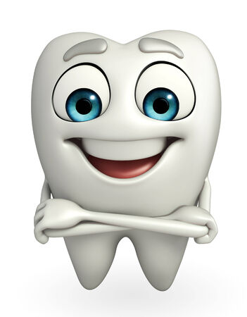 holding  hand: Cartoon character of teeth is holding hand