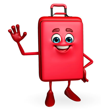 Cartoon Character of Travelling Bag with hello pose photo