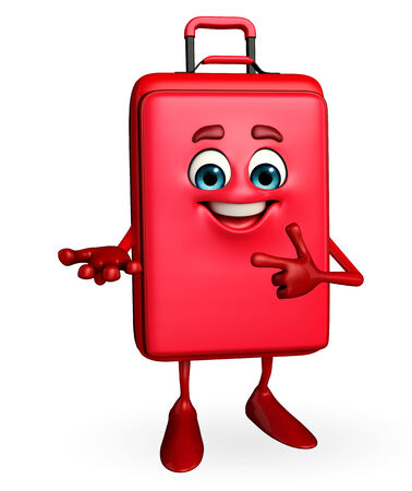 Cartoon Character of Travelling Bag is presenting photo