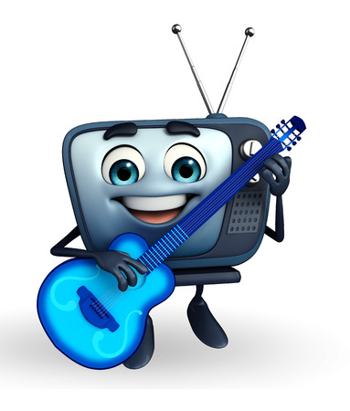 gitar: Cartoon Character of TV with guitar