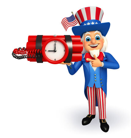 time bomb: Illustration of uncle sam with time bomb