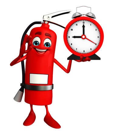 disaster prevention: Cartoon Character of fire extinguisher with table clock