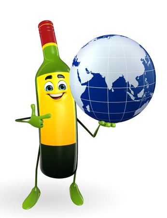 hangover: Cartoon Character of Wine Bottle with globe