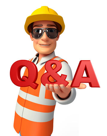 Illustration of young worker with Q & A sign illustration
