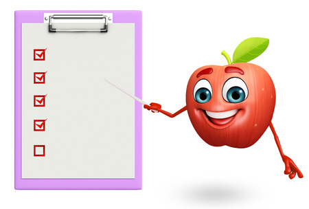 cartoonize: 3d rendered illustration of apple cartoon character with notepad