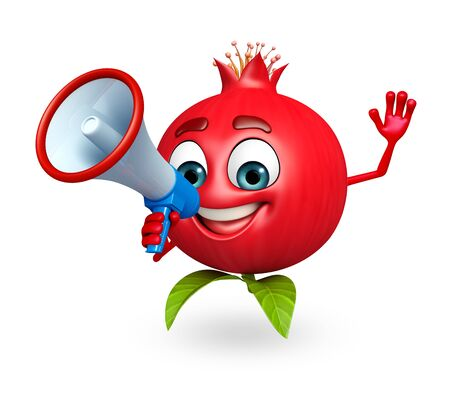 cartoonize: 3d rendered illustration of pomegranate cartoon character with loudspeaker Stock Photo