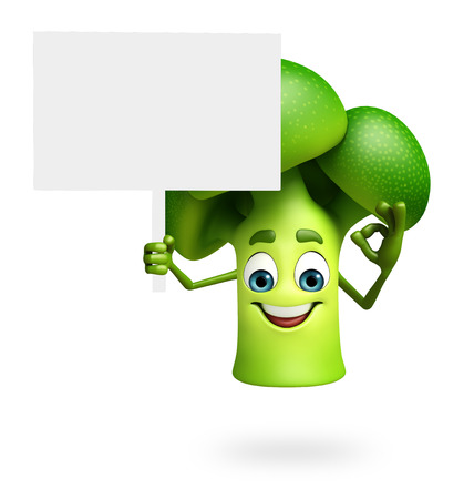 dimentional: 3d rendered illustration of cartoon character of broccoli Stock Photo