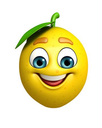 limon caricatura: 3d rindi� la ilustraci�n de personaje de dibujos animados de lim�n