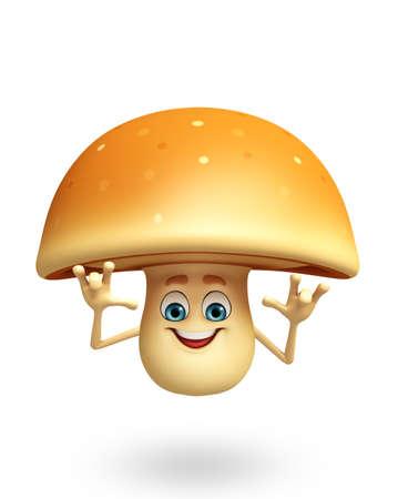 eatable: 3d rendered illustration of mushroom cartoon character