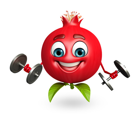 weights: 3d rendered illustration of pomegranate cartoon character with weights