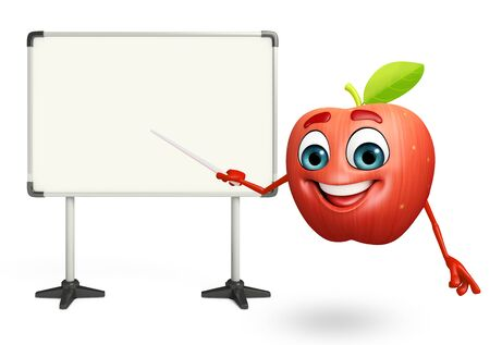 cartoonize: 3d rendered illustration of apple cartoon character with display board