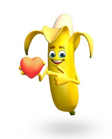 banaan cartoon: 3d teruggegeven illustratie van banaan stripfiguur