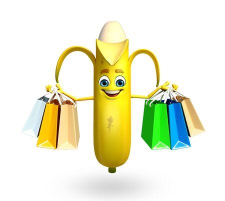 banaan cartoon: 3d rendered illustration of banana cartoon character Stockfoto