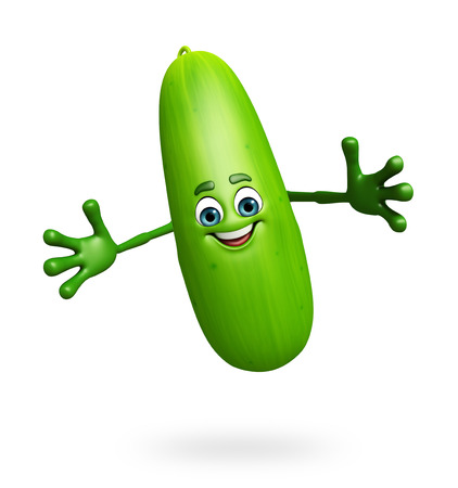 cucumber slice: 3d rendered illustration of cucumber cartoon character Stock Photo