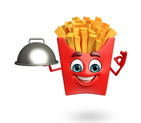 yellow character: 3d rendered illustration of french fries cartoon character